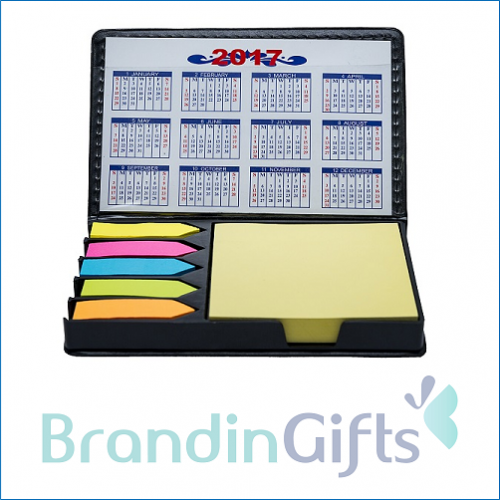 Double Sided PU Leather Sticky Memo Box