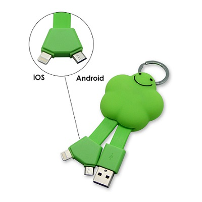 2 in 1 Cute Star Charging Cable with Keyring