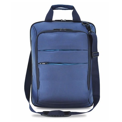 Leather Cloth Document Laptop Sling Bag (Blue)