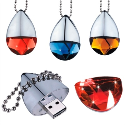 Cap On Crystal Flash Drive with chain
