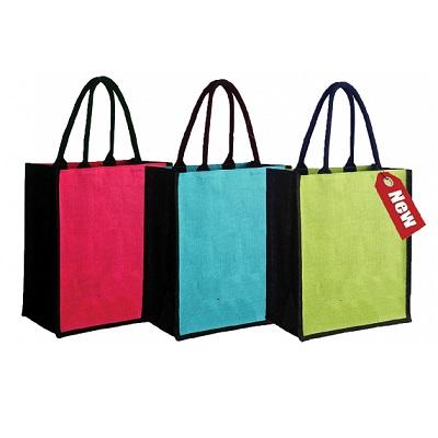 Black with color Jute Bag
