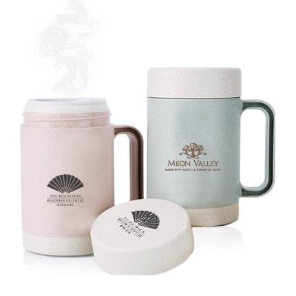 Eco Wheat Natural Straw Double Wall Ceramic Mug