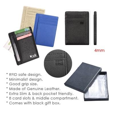 RFID Safe Extra Slim G.Leather Travel Wallet