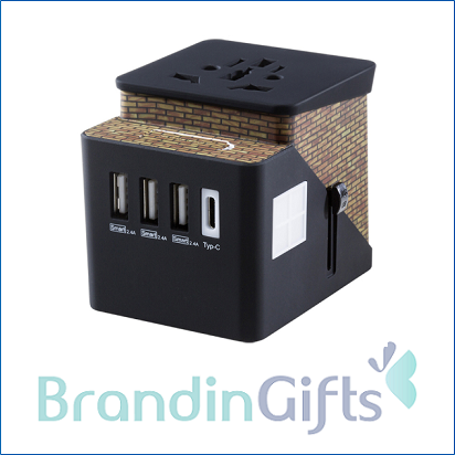 International Smart Travel Charger Wall 3 USB with Type-C