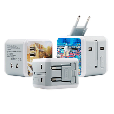 Full Color Print Universal Travel Adapter with Dual USB