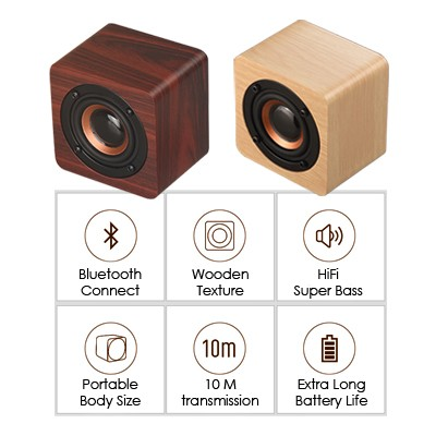 Mini Wooden PURE Sound Bluetooth Speaker with Built-in Battery