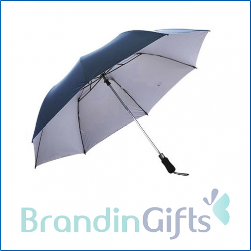 "28"" Auto Open 2 Fold Silver Coated Umbrella"