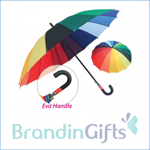 "30"" Rainbow J Handle Umbrella"