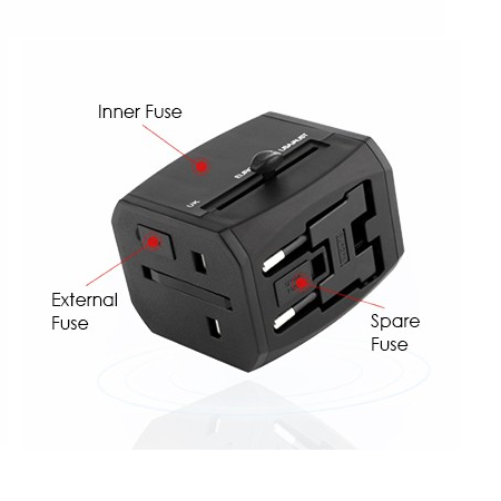 HITEC Travel Adapter Dual USB and Type-C Charger