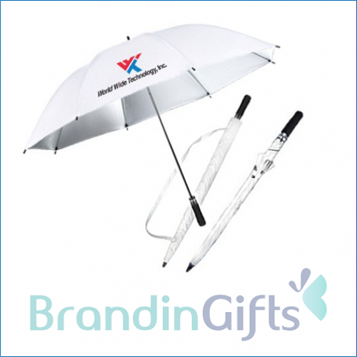 "27"" Auto Open White Inner Silver Coated Golf Umbrella"